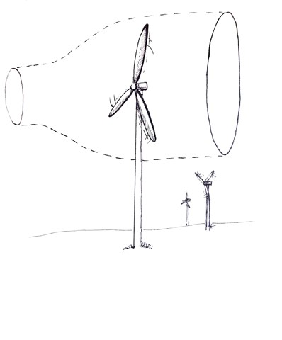 The wind cone as it passes through the turbine